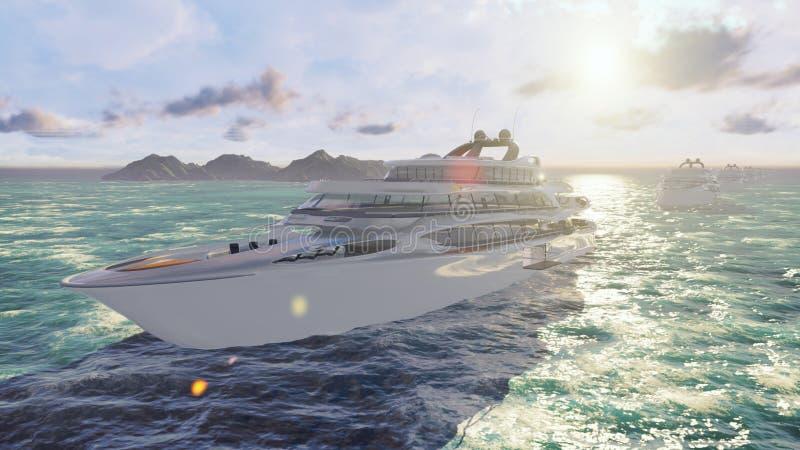 Vista do ar em uma navigação de alta velocidade luxuosa do barco do oceano rendição 3d ilustração stock