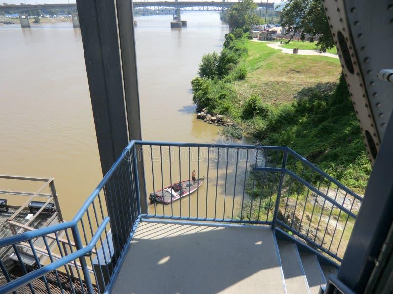 Vista do Arkansas River da ponte da junção imagem de stock
