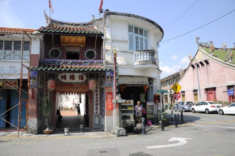 Vista do armênio de Lebuh ou da rua do armênio em Penang, Malásia imagem de stock royalty free
