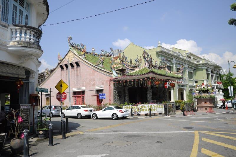 Vista do armênio de Lebuh ou da rua do armênio em Penang, Malásia fotografia de stock