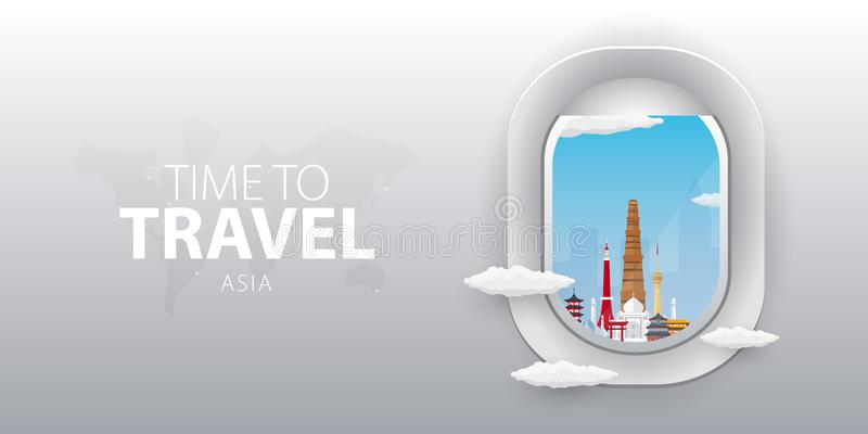 Vista do avião Janela do voo Ásia Bandeira lisa do vetor da Web ilustração royalty free