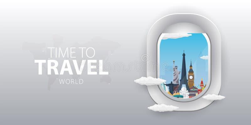 Vista do avião Janela do voo mundo Bandeira lisa do vetor da Web ilustração do vetor