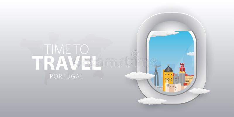 Vista do avião Janela do voo portugal Bandeira lisa do vetor da Web ilustração do vetor