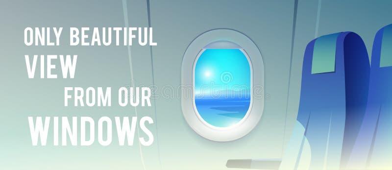 Vista do avião Passageiro da linha aérea Destinos das férias ilustração stock