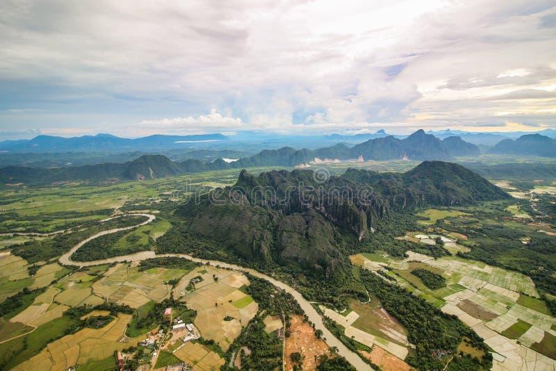 Vista do balão de ar fotografia de stock