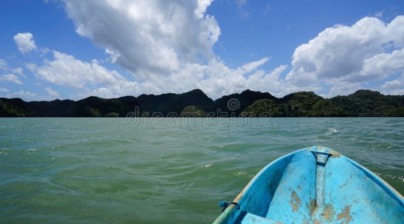 Vista do barco na costa do norte do parque nacional Los Haitises foto de stock royalty free