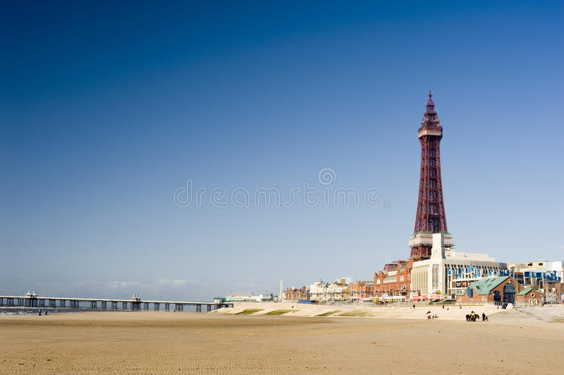 Vista do beira-mar em Blackpool fotos de stock royalty free