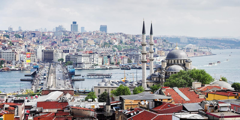 Vista do Bosphorus e da Istambul fotos de stock