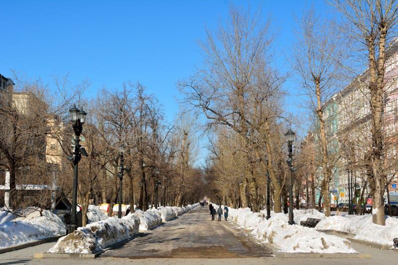 Vista do bulevar de Tverskoy em Moscou foto de stock royalty free