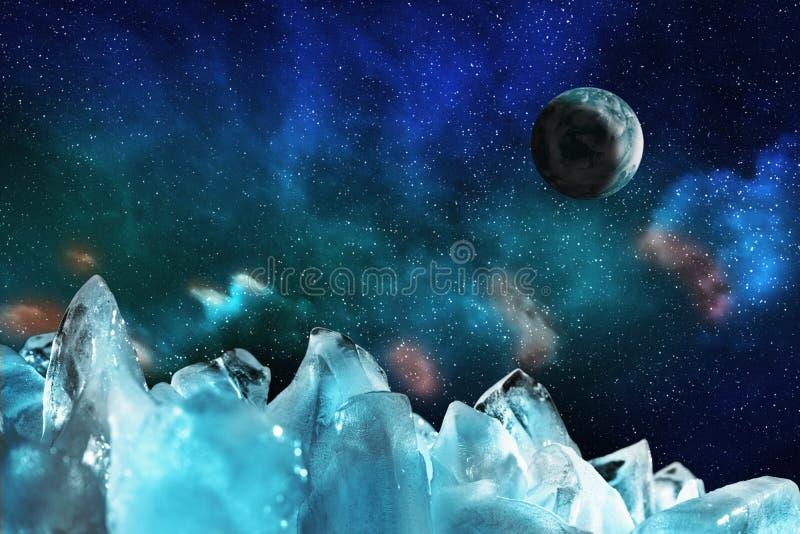 Vista do céu estrelado da noite com aurora boreal e um planeta através dos picos gelados, ilustração da estrela azul ilustração royalty free