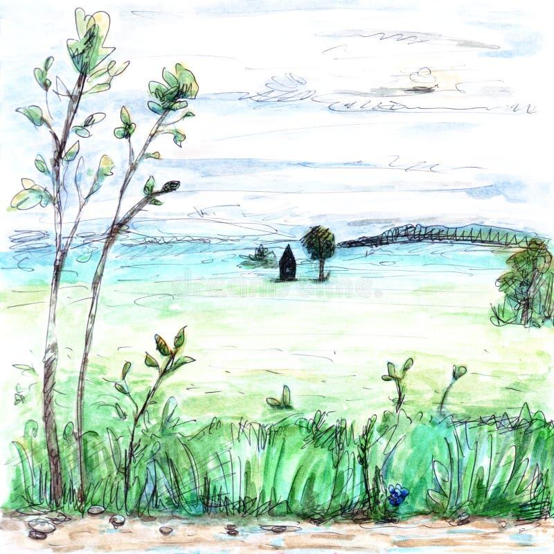 A vista do campo do verão e da casa nevoentos whitish claros da floresta planta a ilustração maçante da pintura da aquarela da es ilustração stock