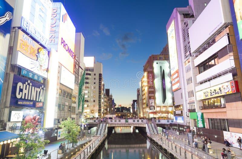 Vista do canal de Dotonbori em Osaka, Japão imagem de stock royalty free