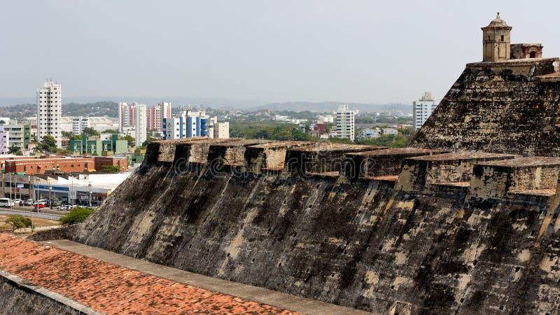 Vista do castelo à cidade de Cartagena fotografia de stock