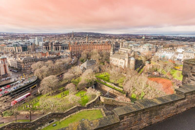 Vista do castelo de Edimburgo foto de stock