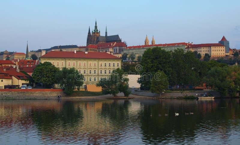 Vista do castelo de Praga com Saint Vitus Cathedral no centro da cidade histórico em Praga pelo rio de Vltava com cisnes da nataç fotografia de stock