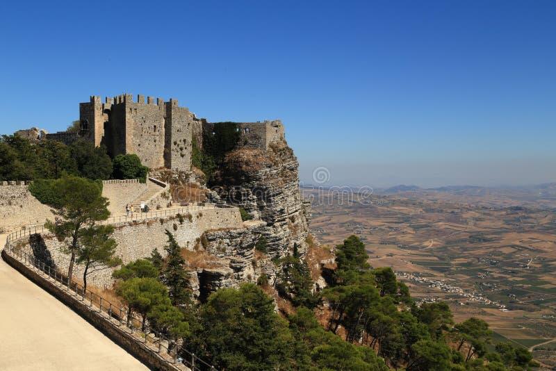 Vista do castelo de Venus Erice - Sicília foto de stock royalty free