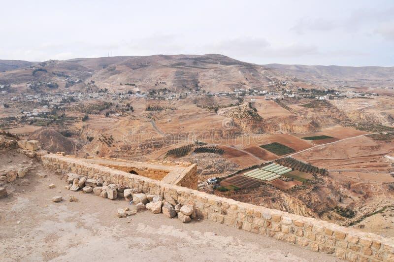 Vista do castelo do cruzado de Al Karak /Kerak, Jordânia fotos de stock royalty free