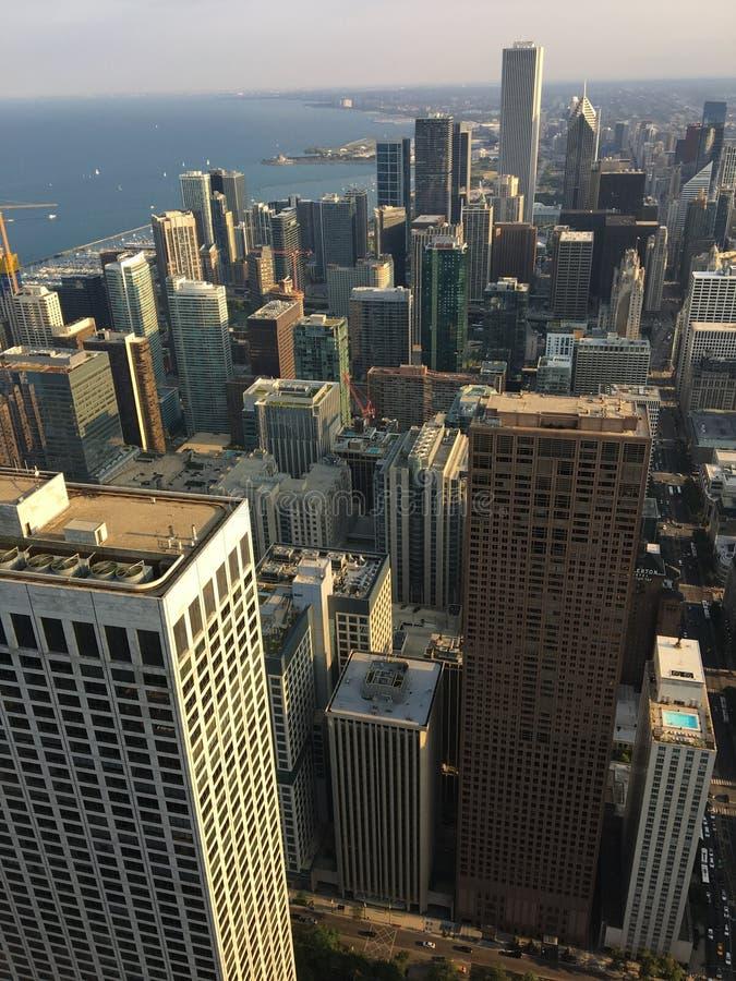 Vista do centro de Chicago e The Loop imagens de stock