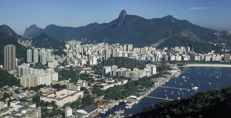 Vista do distrito de Botafogo e do monte de Corcovado, Rio de janeiro, Br fotografia de stock