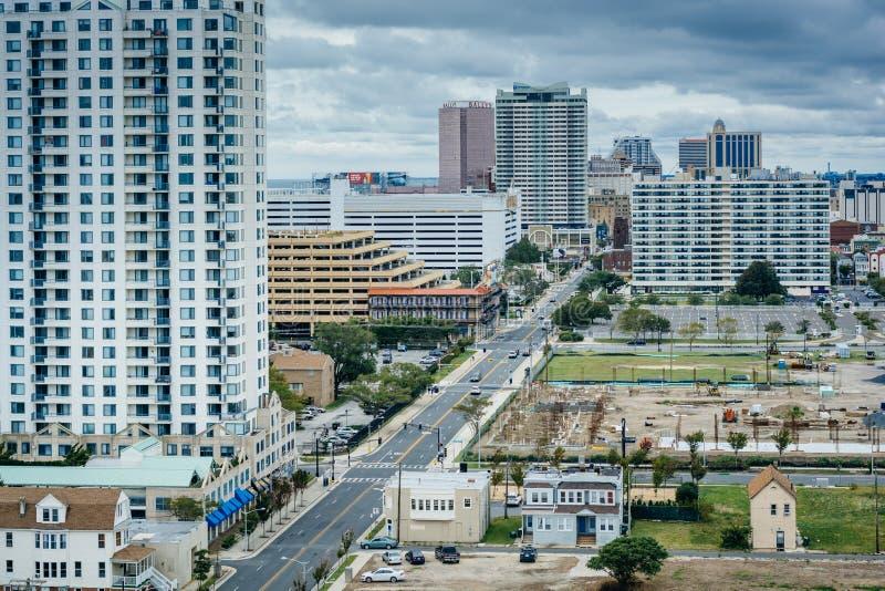 Vista do farol de Absecon em Atlantic City, New-jersey foto de stock royalty free