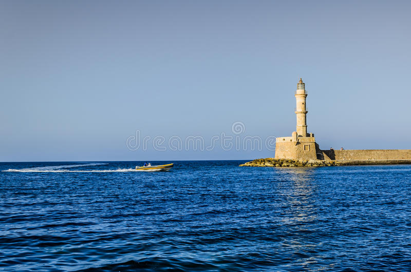 Vista do farol de Chania foto de stock royalty free