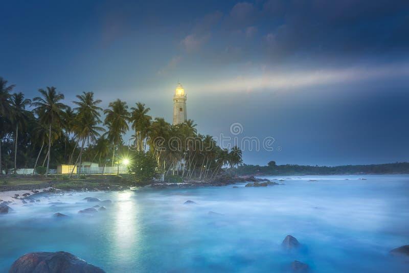 Vista do farol Dondra Matara, Sri Lanka fotografia de stock royalty free