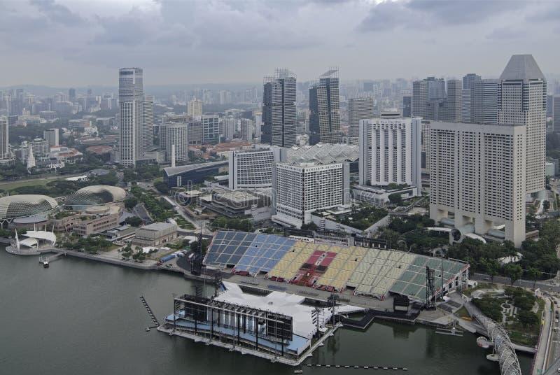 Vista do flutuador em Marina Bay da plataforma de observação do imagens de stock royalty free