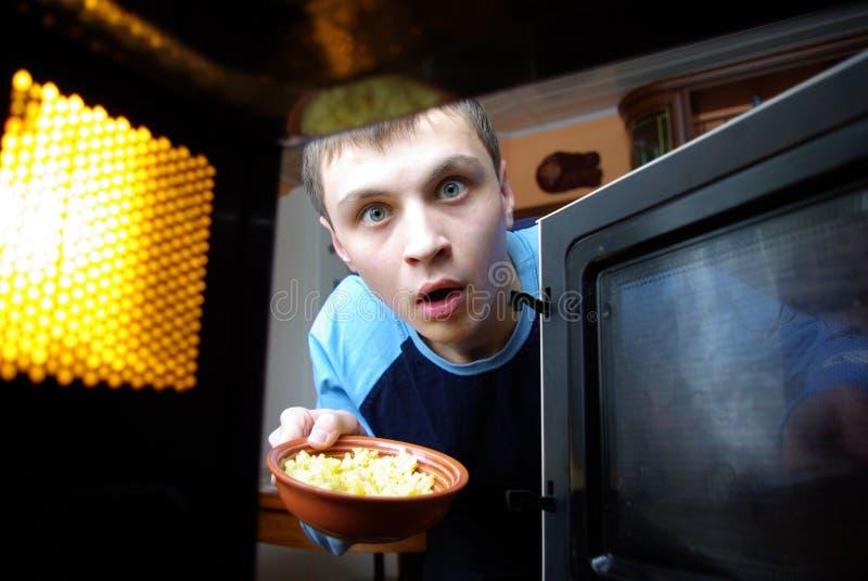 Vista do forno de microonda imagem de stock