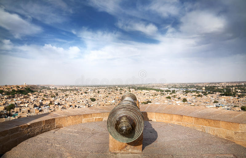 Vista do forte de Jaisalmer na Índia foto de stock royalty free
