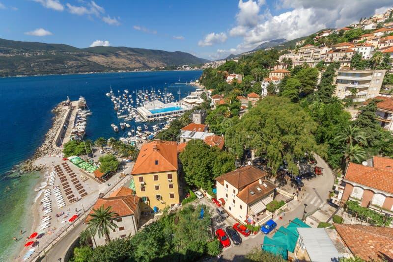 Vista do forte Mare Herceg Novi da fortaleza fotografia de stock