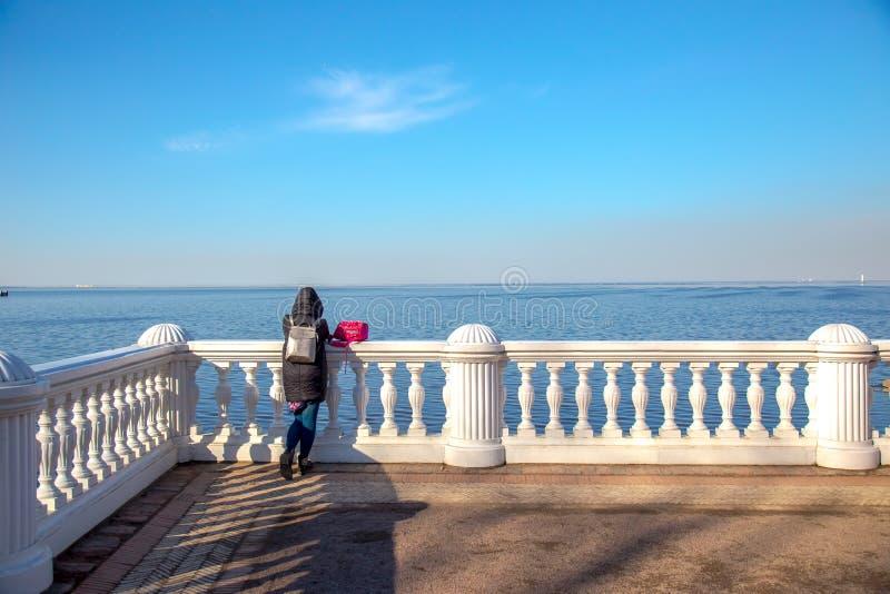 Vista do Golfo da Finl?ndia e da cerca barroco branca no museu de Peterhof St Petersburg, R?ssia imagens de stock