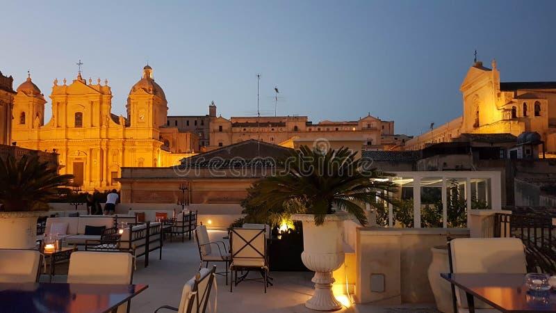 Vista do hotel do botique de Gagliardi em Noto & em x28; sicily& x29; fotos de stock royalty free