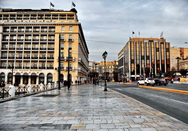 Vista do hotel Bretagne grande no centro da cidade de Atenas imagens de stock