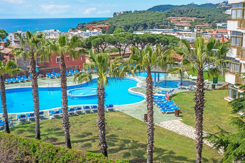 Vista do hotel Lloret de Mar Espanha fotografia de stock royalty free