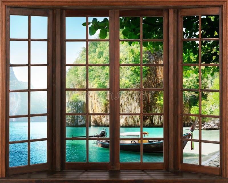 Vista do indicador Silhuetas da janela com uma cortina, fundo da opinião do rio ilustração do vetor
