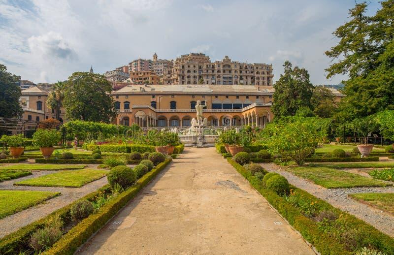 Vista do jardim do palácio do ` s do príncipe, palácio do ` s de Andrea Doria em Genoa Genova, Itália foto de stock royalty free