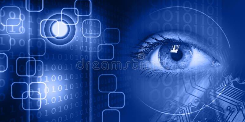 A vista do jovens mulheres eye no fundo da tecnologia fotografia de stock
