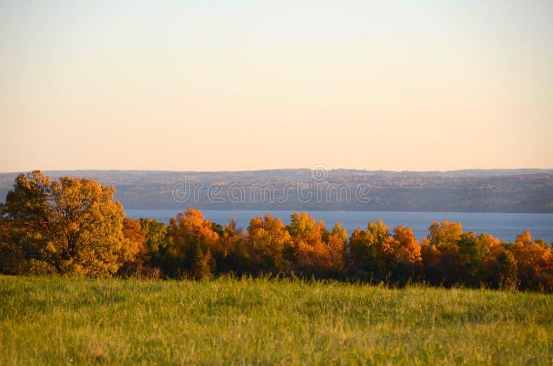Vista do lago durante o outono nos lagos finger imagem de stock royalty free