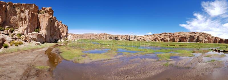 Vista do Laguna Negra e a paisagem rochosa do platô boliviano fotografia de stock