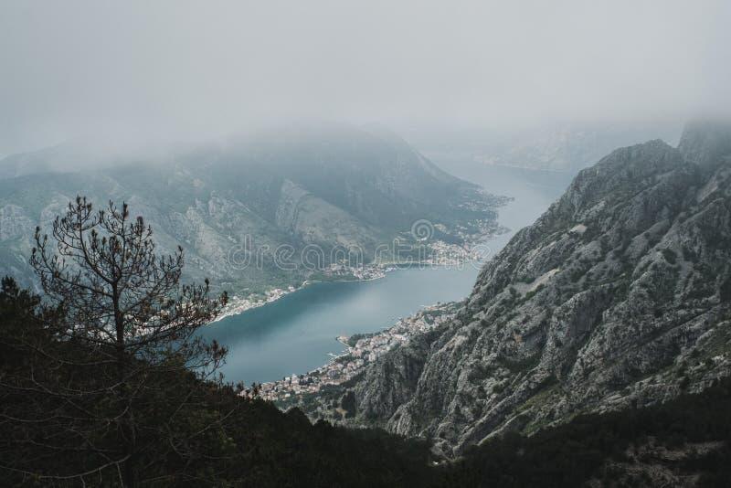 Vista do louro de Kotor em Montenegro foto de stock