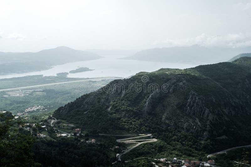 Vista do louro de Kotor em Montenegro fotos de stock