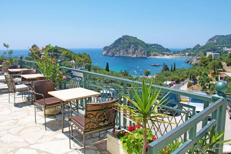 Vista do louro de Paleokastritsa Console Greece de Corfu fotos de stock