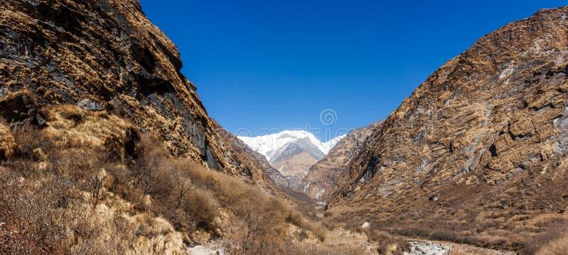 Vista do Machapuchare, no passeio na montanha do acampamento base de Annapurna, Nepal imagens de stock royalty free