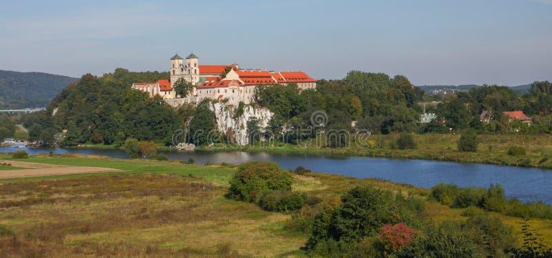 Vista do monastério de Tyniec em Krakow/Polônia/vista cênico fotografia de stock royalty free
