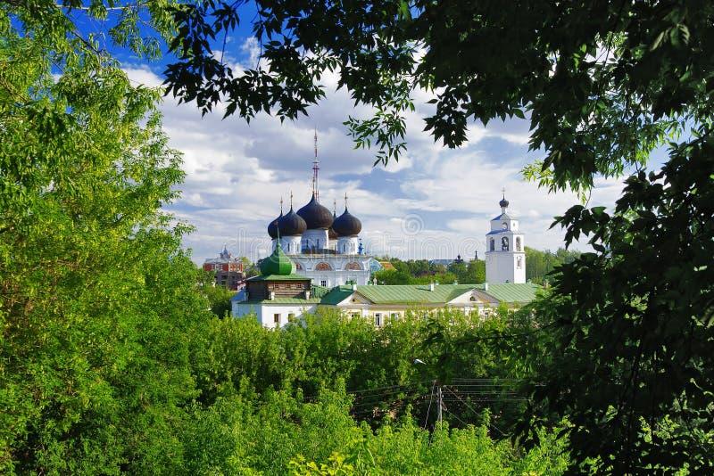 Vista do monastério de Uspensky Trifonov, Kirov fotografia de stock