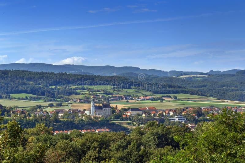 Vista do monte da abadia de Melk, Áustria fotografia de stock royalty free