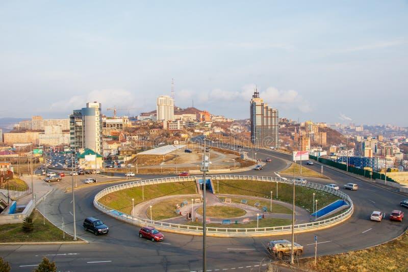 Vista do monte de Eagle na cidade de Vladivostok foto de stock royalty free