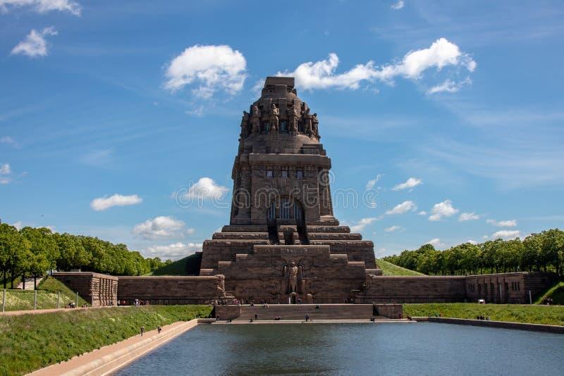 Vista do monumento à batalha das nações em Leipzig fotos de stock