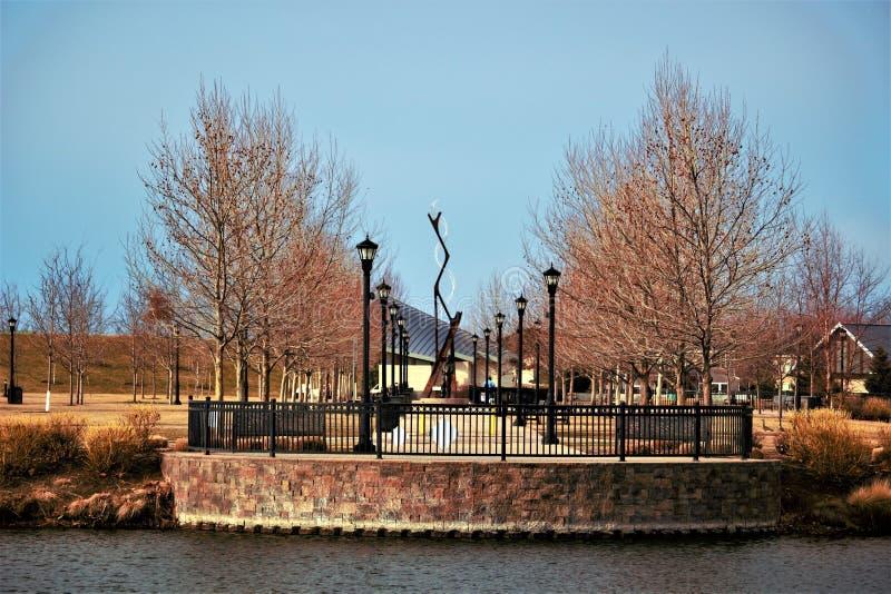 Vista do monumento no meridiano do parque de Kleiner, identificação imagem de stock