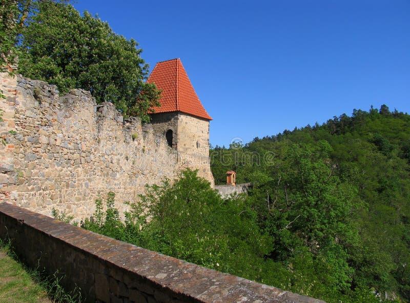 Vista do muralha do castelo medieval Zvikov foto de stock